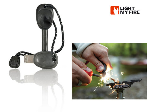 Light My Fire Swedish FireSteel 2.0 SCOUT - 3,000 Strikes at 5400 degrees Fahrenheit - Built-In Emergency Whistle - Black