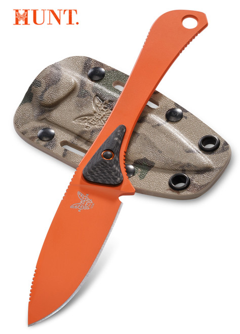 """Benchmade HUNT 15200ORG Orange Altitude Fixed Blade - 3.08"""" CPM-S90V Drop Point Blade - Carbon Fiber/G-10 Micro Scales - Camo Kydex Sheath - CUTLERY SHOPPE"""
