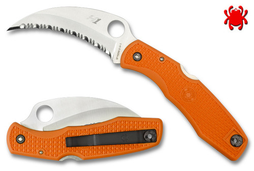 "Spyderco C77SOR SpyderHawk Salt - 3.63"" Serrated H-1 Blade - Orange FRN Handle - SPRINT RUN"