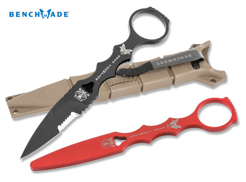 Benchmade 178SBKSN-COMBO SOCP Skeletonized Dagger w/Black Finish Drop Point Combo Edge Blade - Coyote Brown Sheath - Red Training Blade Included  - CUTLERY SHOPPE
