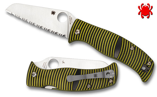 "Spyderco C217GSSF Caribbean Salt - 3.7"" Serrated Edge Sheepsfoot Shaped Rustproof LC200N Blade - Layered Black/Green G-10 Handle - CUTLERY SHOPPE"