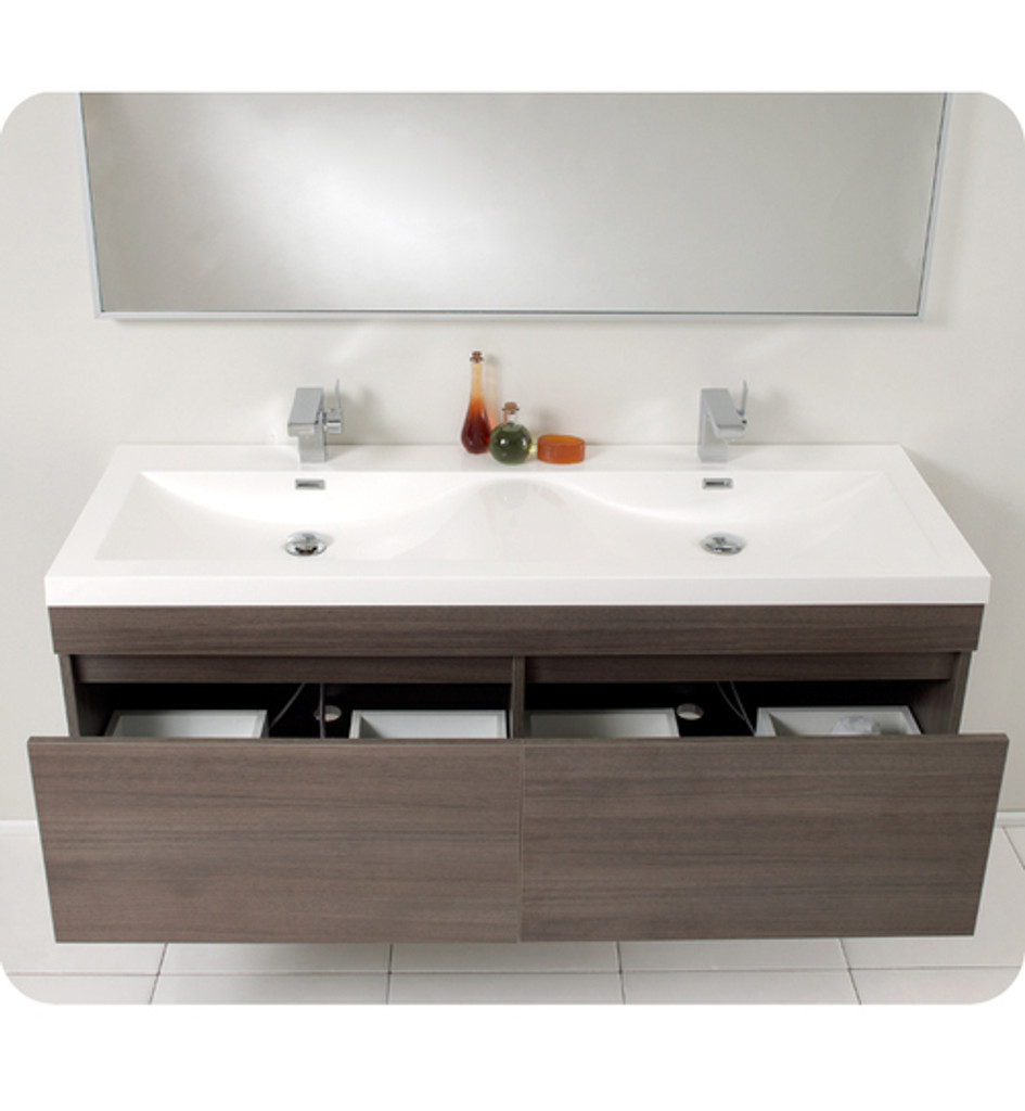 Fvn8040go fresca largo gray oak modern bathroom vanity w - Modern double sink bathroom vanities ...