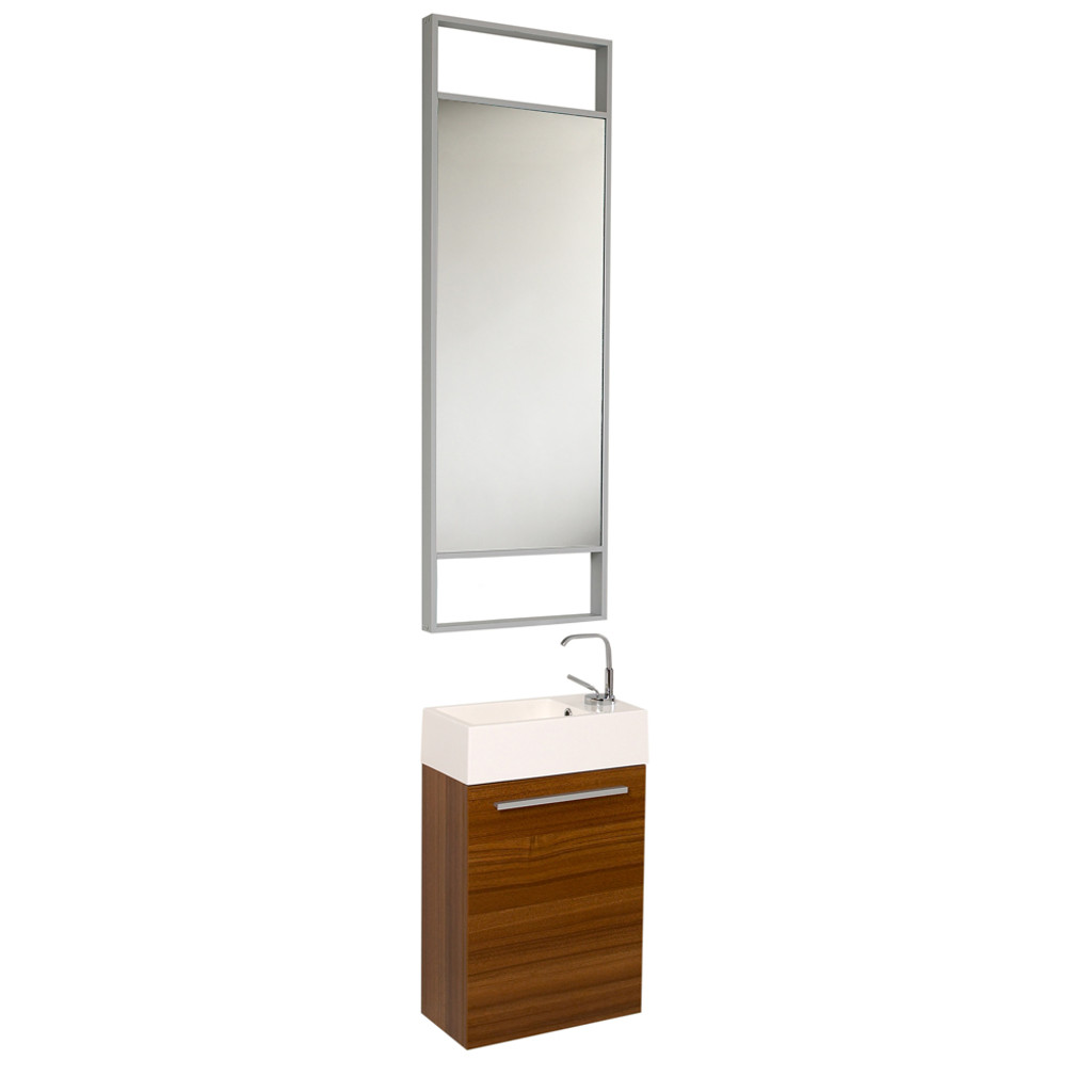 Fresca Pulito Small Teak Modern Bathroom Vanity w/ Tall Mirror