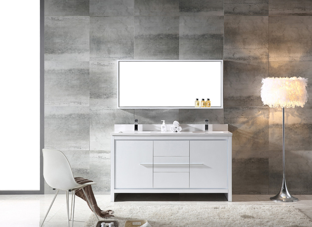 Fresca Allier 60 Quot White Modern Double Sink Bathroom Vanity