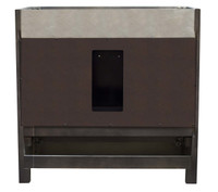 "American Imaginations Elite 36"" Birch Wood-Veneer Single Sink Vanity Set in Distressed Antique Walnut 