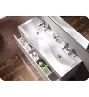 Fresca Largo White Modern Bathroom Vanity w/ Wavy Double Sinks