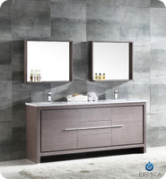 72 Quot Modern Double Sink Bathroom Vanity In Gray Oak