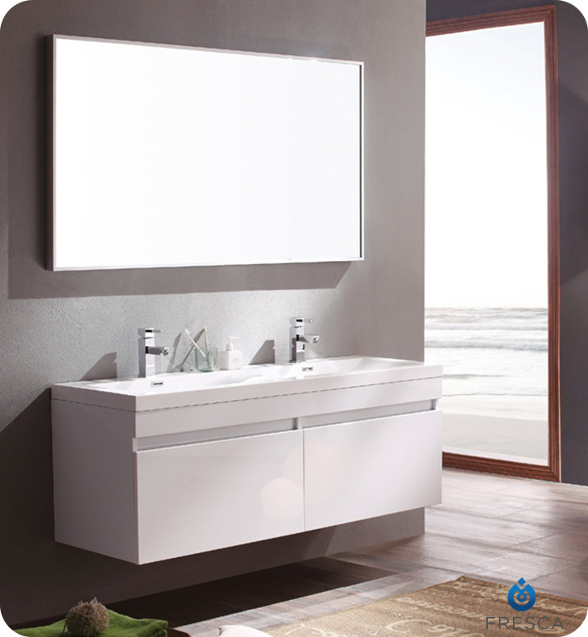 Fvn8040wh Fresca Largo White Modern Bathroom Vanity W