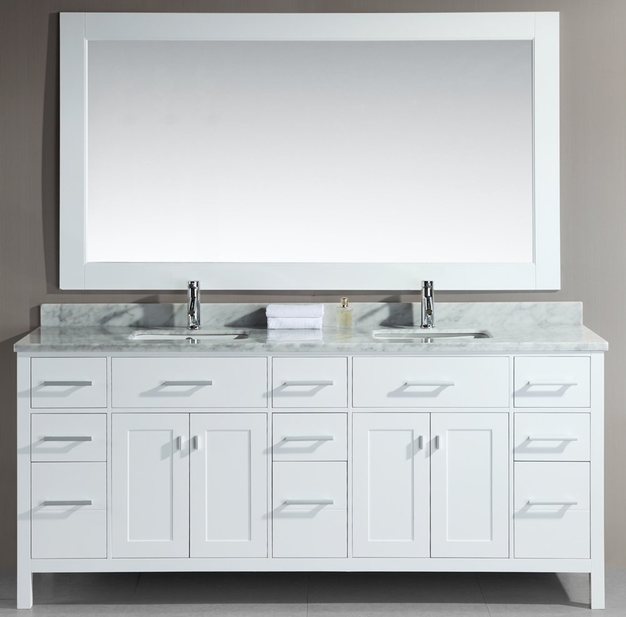 Design element dec088 w london 78 double sink vanity set in white for 78 double sink bathroom vanity
