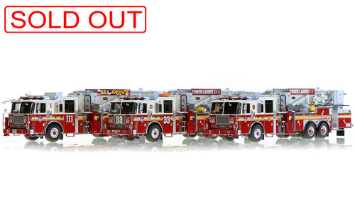 1:50 scale museum grade replicas of FDNY Tower Ladders 1, 33 and 111