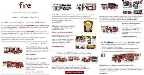 Fire Replicas Newsletter for March, 2018