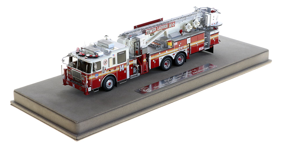 FDNY Tower Ladder 14 includes a fully custom display case!