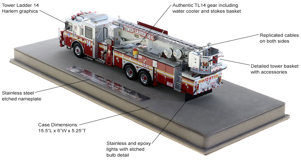 FDNY Tower Ladder 14 features authentic details