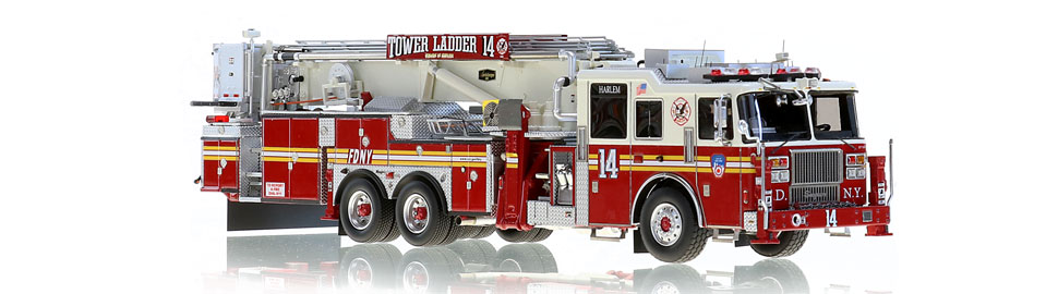 FDNY Tower Ladder 14 features razor sharp precision.