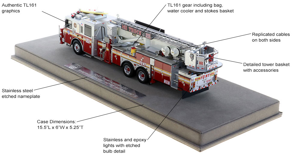 FDNY Tower Ladder 161 features authentic details