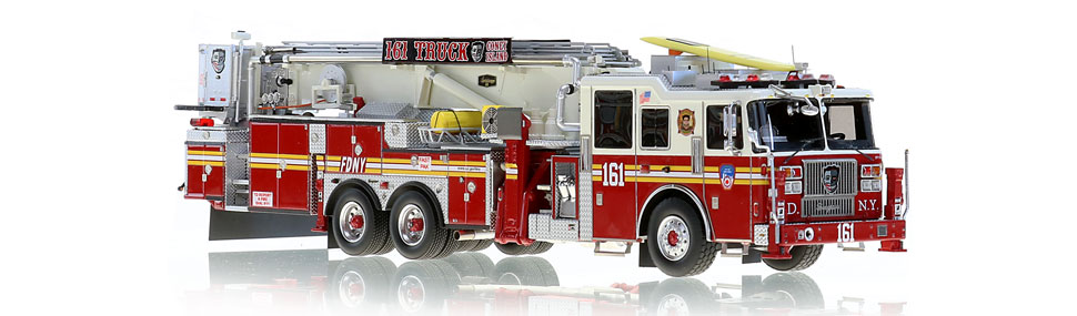 FDNY Tower Ladder 161 features razor sharp precision.