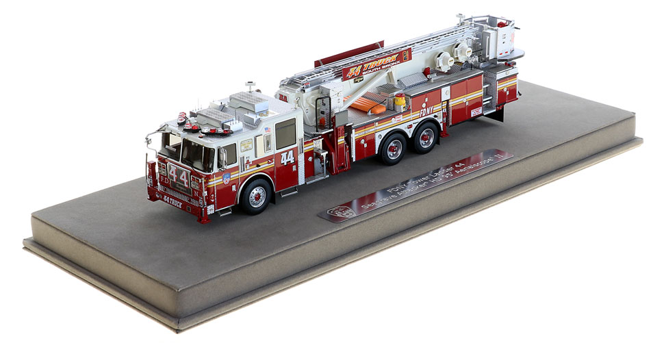 FDNY Tower Ladder 44 includes a fully custom display case