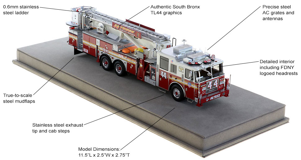 Order your FDNY Tower Ladder 44 scale model today!