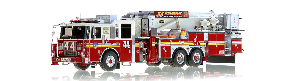 FDNY Tower Ladder 44 features razor sharp precision.