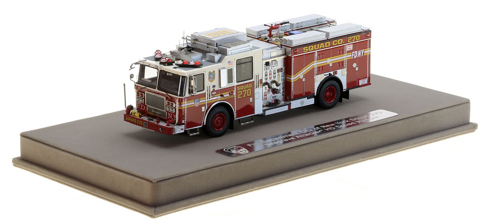 Each FDNY Squad 270 scale model includes a custom case.