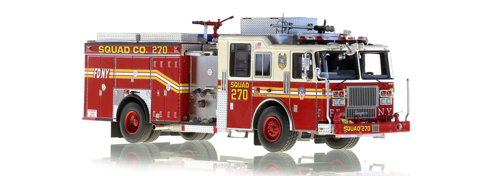 Each FDNY Squad 270 scale model is hand-crafted