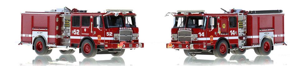 Boston Engine 14 and 52 scale model fire trucks