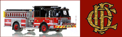 Shop Chicago scale model fire trucks including E-One Engine 28
