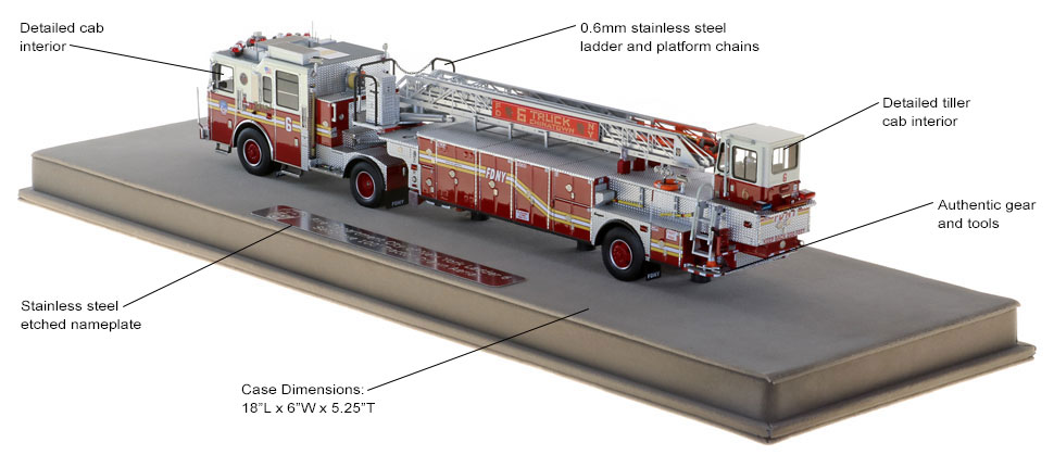 FDNY Ladder 6 scale model includes authentic details