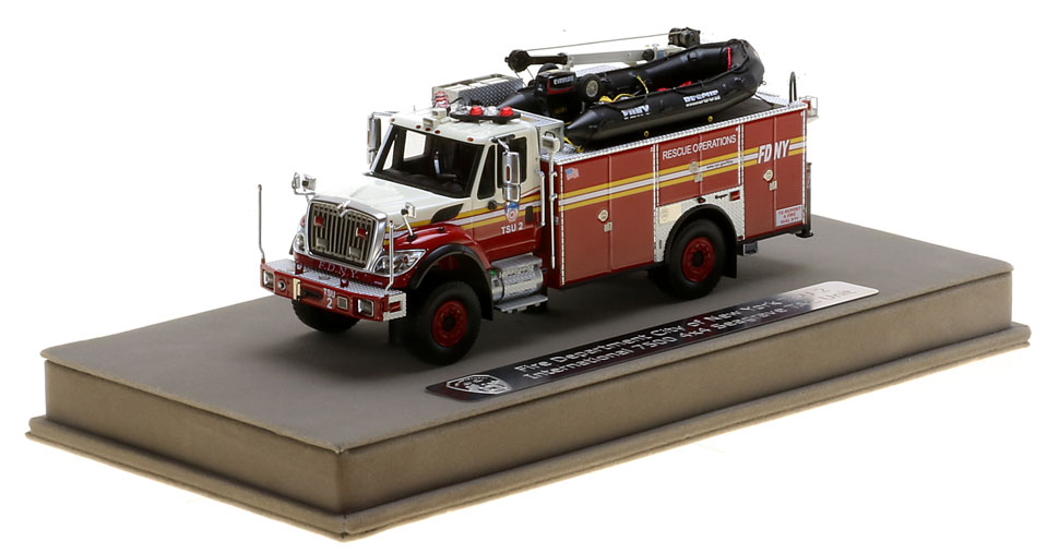 FDNY TSU 2 scale model includes a display-ready case