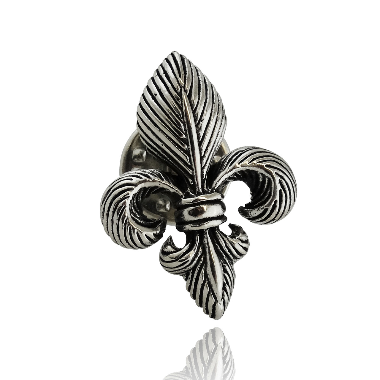 Fleur De Lis Lapel Pin   925 Sterling Silver 3D Brooch New Orleans French
