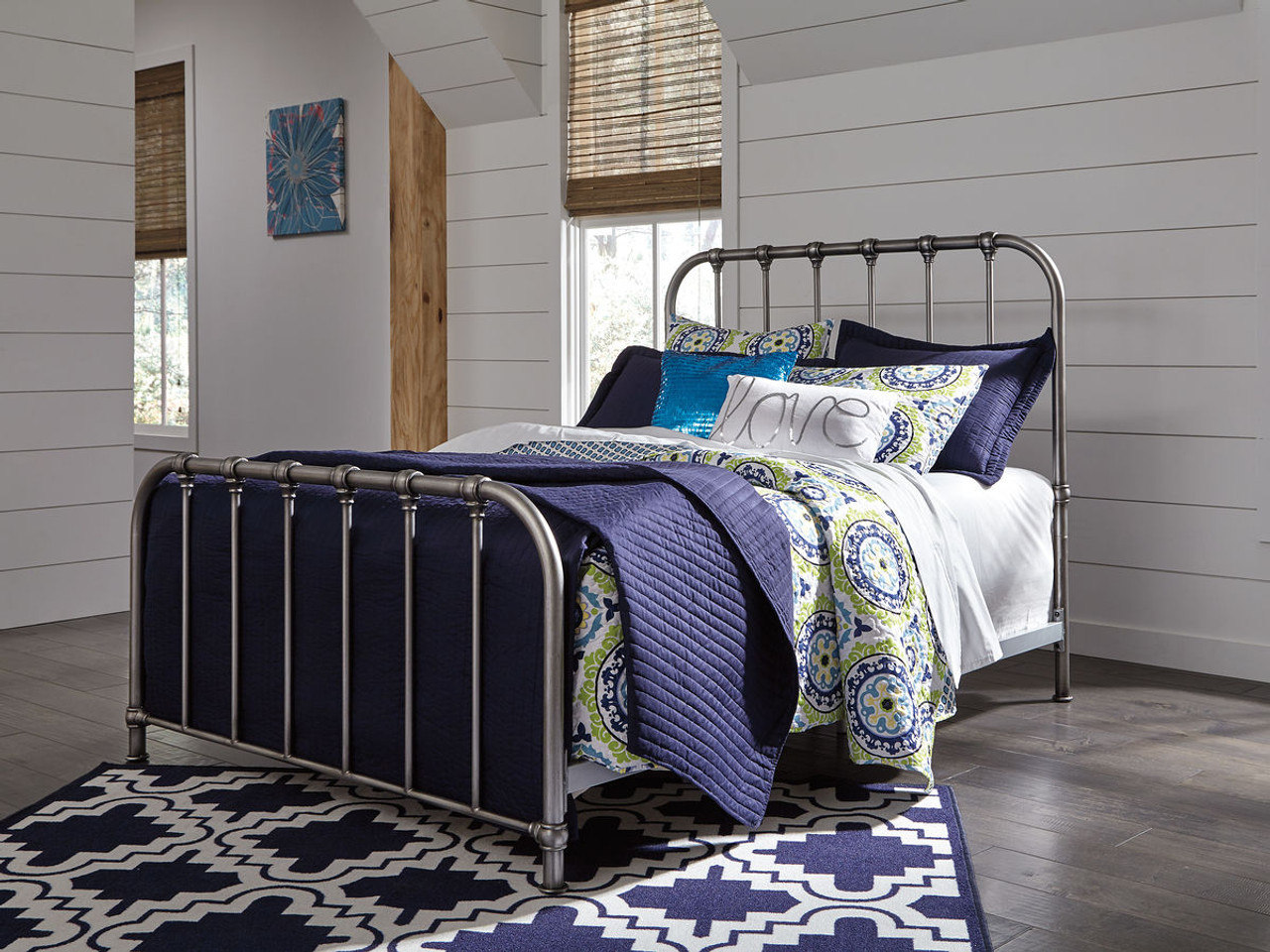 The Nashburg Silver Full Metal Headboardfootboardrails Available - Logan-leather-bed-with-adjustable-headboard