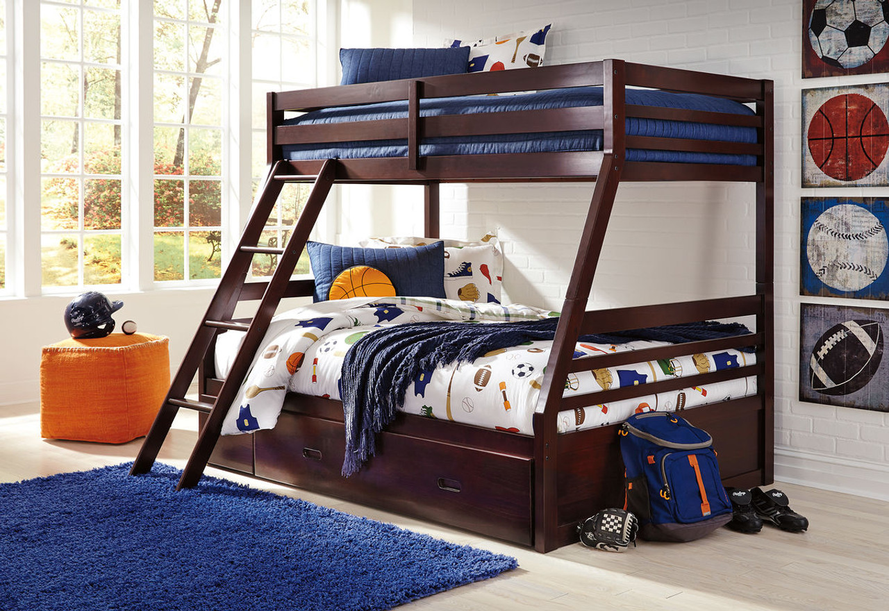 The Halanton Dark Brown Twin Full Bunk Bed With Ladder Bunk Bed