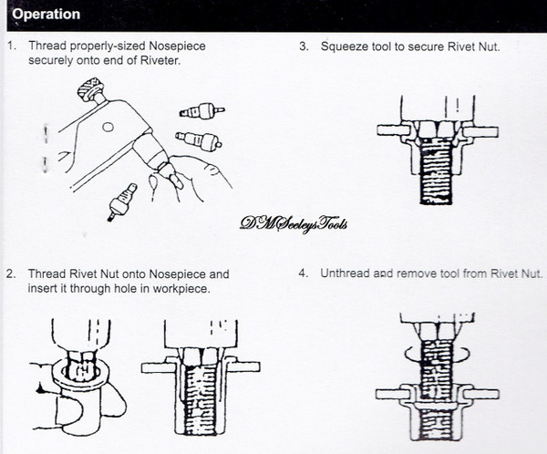 Threaded Rivet nut hand tool directions.