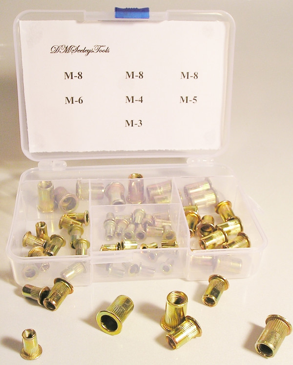 Rivet Nut Threaded Metric Steel Insert Assortment Home Work Shop Repair Kit Free
