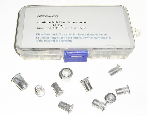 Rivet Nut Threaded Inch Aluminum riv nut Assortment Home & Shop 5 Sizes & 10/32s