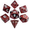 Metallic Dice Games - 16mm Polyhedral Dice  (Set of 7) - Red Painted Metal
