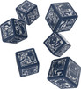 Q-Workshop - Doctor Who - Set of 6 x D6 Roleplaying Dice - Blue and White
