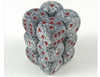 Chessex Dice - Speckled - 16mm D6 Dice Granite/Red Pips (12 count)