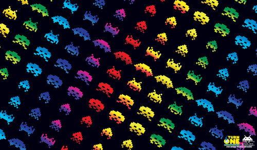 Turn One Gaming - Playmat - Space Invaders Rainbow Edition