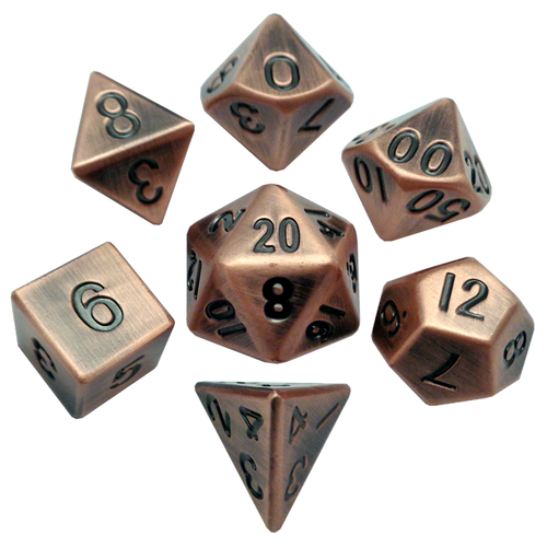 Metallic Dice Games - 16mm Polyhedral Dice  (Set of 7) - Antique Copper