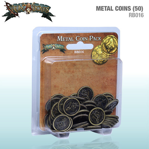 Rum and Bones  - Metal Coin Pack - (Set of 50 Gold Pieces) - Cool Mini or Not