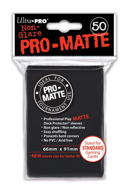 Ultra Pro PRO-MATTE Deck Protector - Standard Size Non-Glare Card Sleeves - 50 Count - BLACK