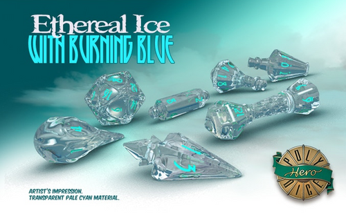 Polyhero Dice - Wizard Set -  Ethereal Ice with Blue Pips  (Set of 7)