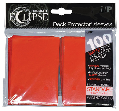 Ultra Pro ECLIPSE 2.0 PRO-Matte Deck Protector - Std Size Non-Glare Card Sleeves - 100 Count - APPLE RED