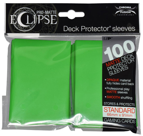 Ultra Pro ECLIPSE 2.0 PRO-Matte Deck Protector - Std Size Non-Glare Card Sleeves - 100 Count - LIME GREEN