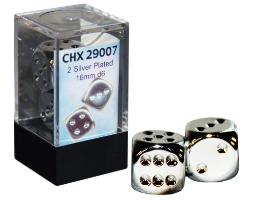 Chessex Dice - 2x Silver Plated 16mm d6 - CHX29007