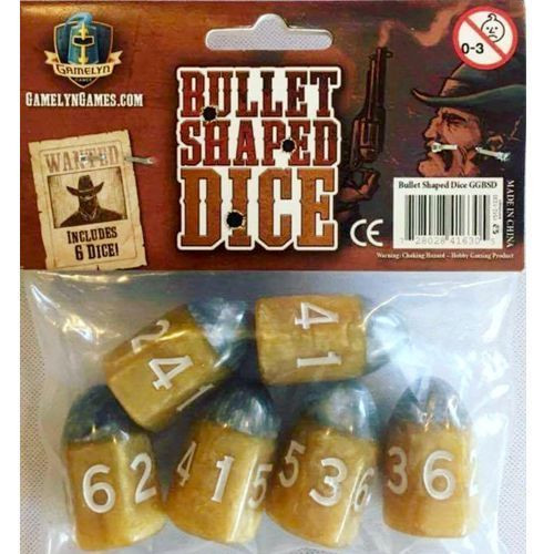 """Gamelyn Games - Bullet Shaped Dice - """"Shooter"""" 6 pack"""