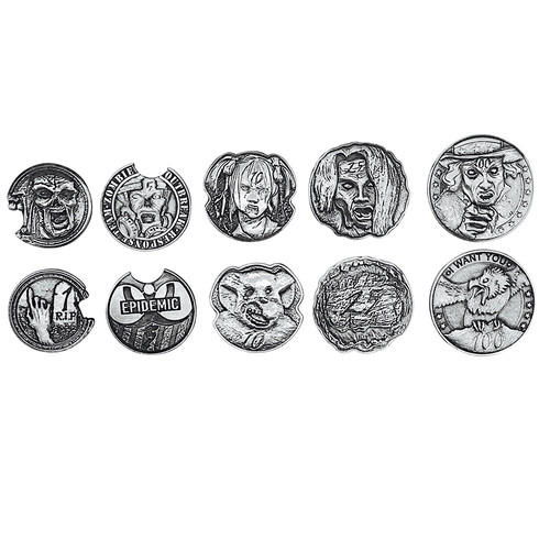 """Norse Foundry - Adventure Coins - Variety Pack  (Set of 10) """"Zombie Silver"""""""