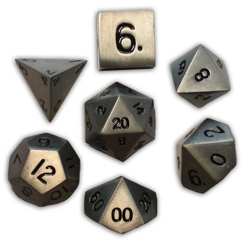Norse Foundry - Aged Mithral - 16-22mm RPG Polyhedral Dice  (Set of 7)