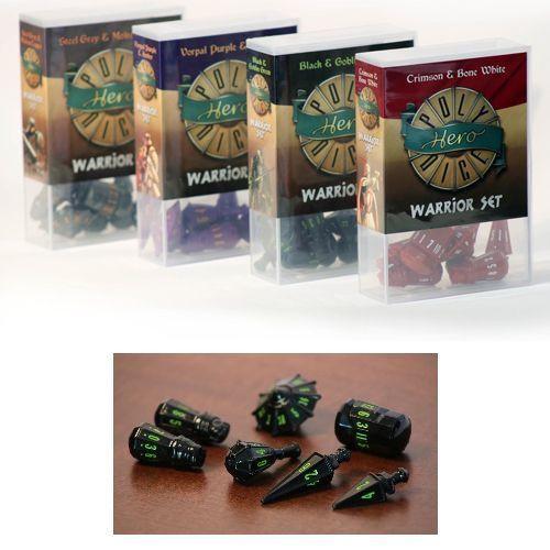Polyhero Dice - Warrior Set - Black with Goblin Green Pips (Set of 7)